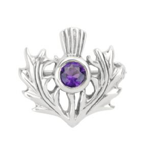 Scottish Thistle Silver Brooch with Amethyst colour stone 0726